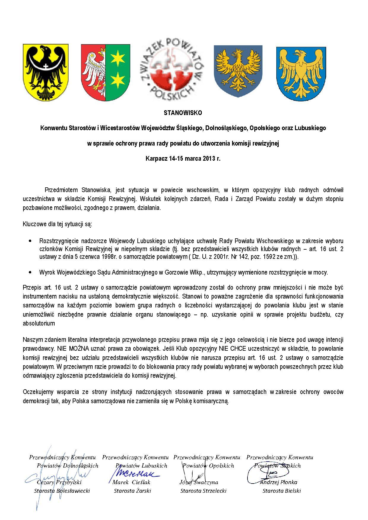 stanowisko ws. Komisji Rewizyjnej
