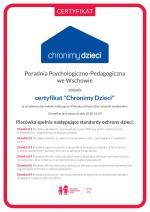 Poradnia Psychologiczno-Pedagogiczna we Wschowie otrzymała certyfikat