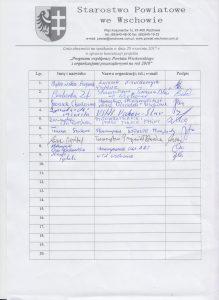 Lista obecności na konsultacjach