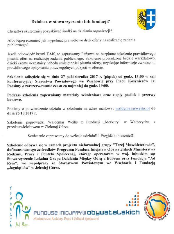 Szkolenie dla organizacji pozarządowych 27.10.2017 roku
