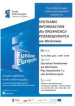 Spotkanie informacyjne dla organizacji pozarządowych dot. możliwości wsparcia zarówno z funduszy europejskich, jak i krajowych.