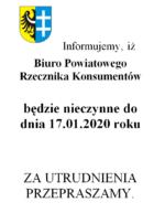 Biuro Rzecznika Konsumentów nieczynne do 17.01.2020 r.