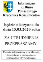 Biuro Rzecznika Konsumentów nieczynne do 15.03.2020 r.
