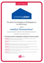 Poradnia Psychologiczno – Pedagogiczna z certyfikatem