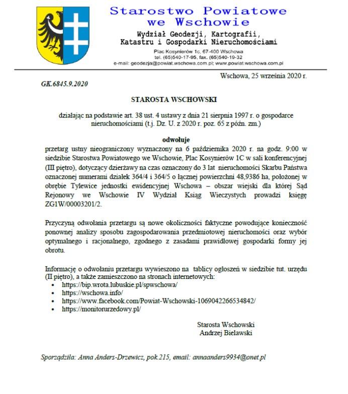 pismo informujące o odwołaniu przetargu