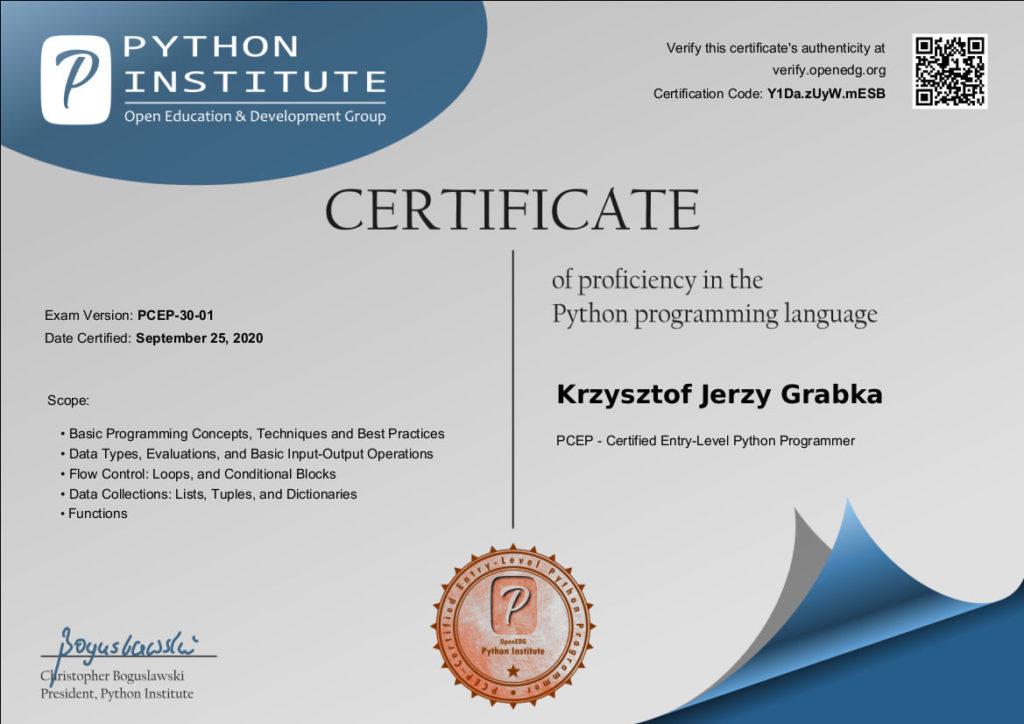 Certyfikat uzyskany przez Pana Krzysztofa Grabkę