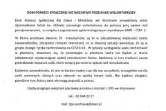 ogloszenie Dyrektora DPS o  poszukiwaniu wolontariuszy