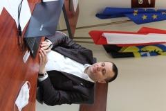 Starosta Wschowski Andrzej Bielawski podczas wideokonferencji w sprawie nowych punktów szczepień